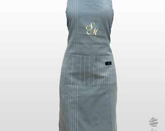 Adult Adjustable Apron with Personalized Monogram – Blue