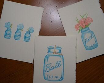 Set of three Ball Jar cards
