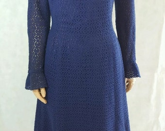 True vintage 1960s navy crochet/lace shift dress.