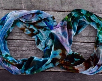 Custom Handmade, Organic Cotton and Bamboo Velour Infinity Scarf, Various Colorways