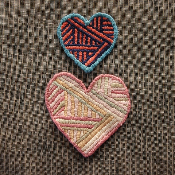 Hand Embroidered Striped Heart Sew-On Patch