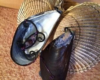 Alaskan Mussel Shell Wrapped Wire Earrings
