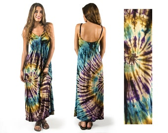 Tie-Dye Maxi Dress - Purple Teal Multi - 1929W