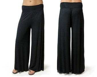 Solid Color Wide Leg Pants - 2368