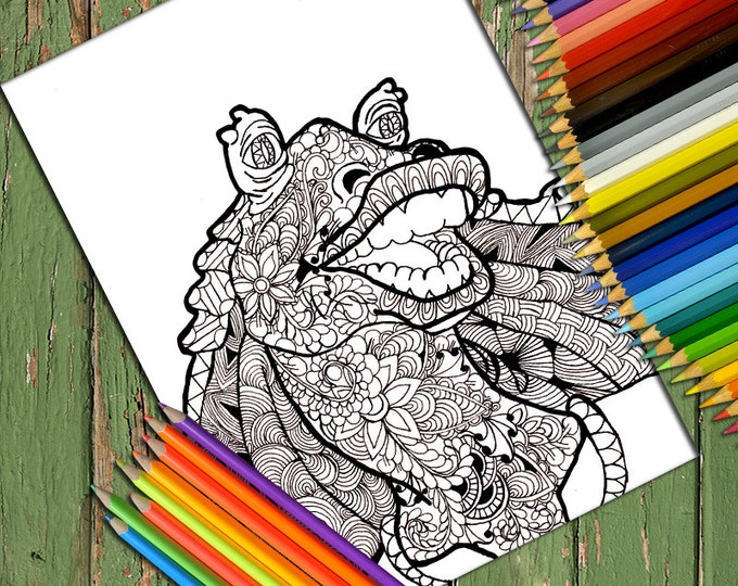Star wars Zentangle Coloring Page , Printable Doodle Adult Coloring, Zentangle Coloring Page, Line art, Printable Coloring, Jar Jar Binks