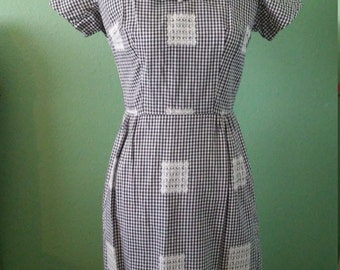 1950s black and white gingham wiggle dress by Leslie Fay