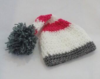 Crochet baby girl elf hat, newborn girl hat, newborn elf hat, crochet elf newborn hat, ready to ship, baby girl hat