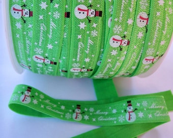 Snowman Printed Fold Over Elastic, FOE 5/8, DIY Hair Ties and Headbands, Elastic by the Yard