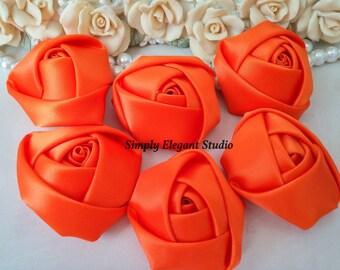 "1.8"" Orange Satin Roses, 3 Vintage Rolled Fabric Rosettes, Baby Headband Flowers, Wedding Flowers, Flower Supply"