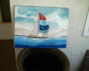 Vintage Sailboat Oil Painting Unframed Carlsbad California Signed