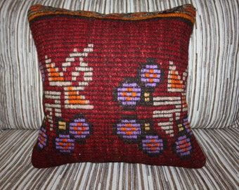 "Vintage Turkish Kilim Cushion Cover Handmade Kilim Pillow Cover  16"" x 16"" Bright Colors Wool Rug Pillow Case Embroidery Turkish Pillow"