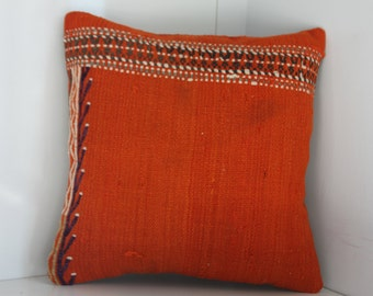 "Awesome Kilim Pillow Cover Orange Colors Decorative Pillows Embroidery Turkish Kilim Pillows 16"" x 16"" Cushion Covers Handmade Pillows"
