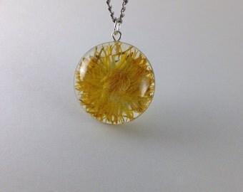 Dandelion resin necklace