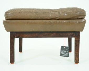 307-014 Danish Mid Century Modern Leather Footstool Stool Ottoman