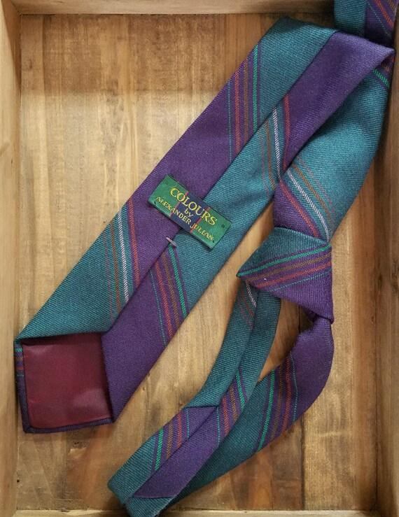 1980s Teal and Purple Tie / Colours by Alexander Julian / Eighties Wool Necktie / Diagonal Stripe Cravat