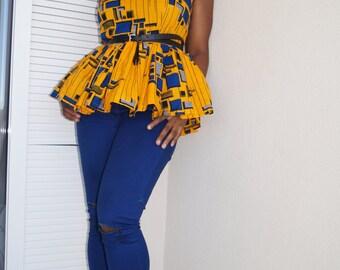 Ankara peplum top, african print top
