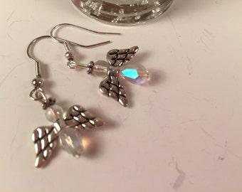 Crystal like Bead Angel Earrings