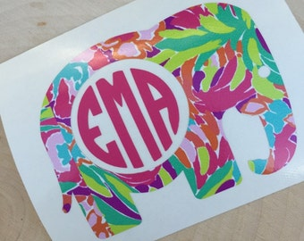 Elephant Decal - Monogram Elephant Decal - Lilly Pulitzer Inspired Elephant Decal