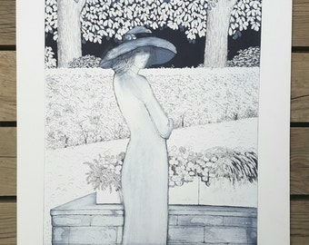 "Lithograph after the ""Hat Lady"" artwork vintage"