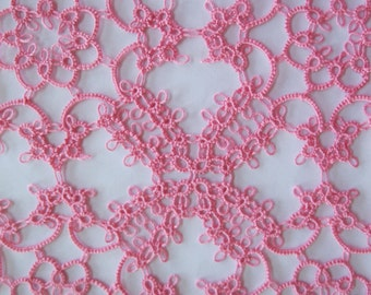 Square Pink Tatted Doily