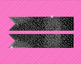 Gradient scattered rhinestone bow strips Jumbo size.