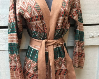 Vintage 1970's Catalina Jacquard Aztec Mexican sweater M