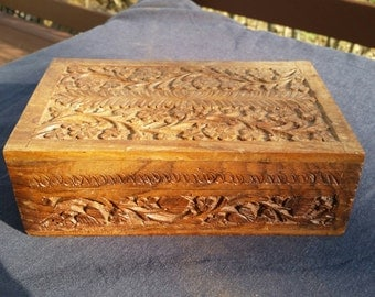 "Carved Wood Box ""Tramp Art"" Style"