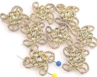 8 Gold Rhinestone 2 Hole Beads Slider Beads 10931