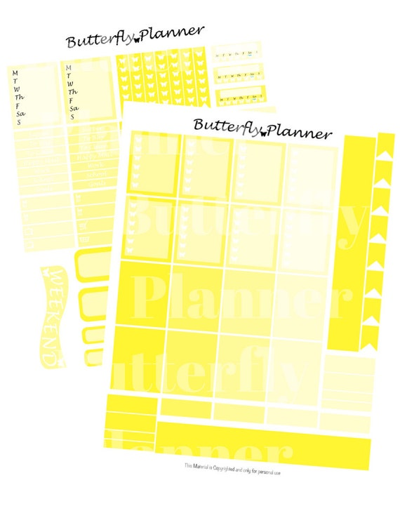 Yellow Printable Planner Stickers 2 Pages