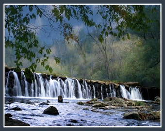 Landscapes photography,summertime, waterfalls, water, fine art photography, home decor Summer Falls