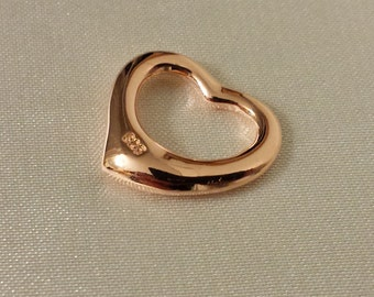 Rose gold heart, gold plated over sterling silver heart pendant