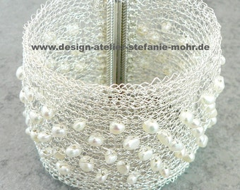 wire crochet cuff bracelet, silver plated, tarnish protected with fresh water pearls