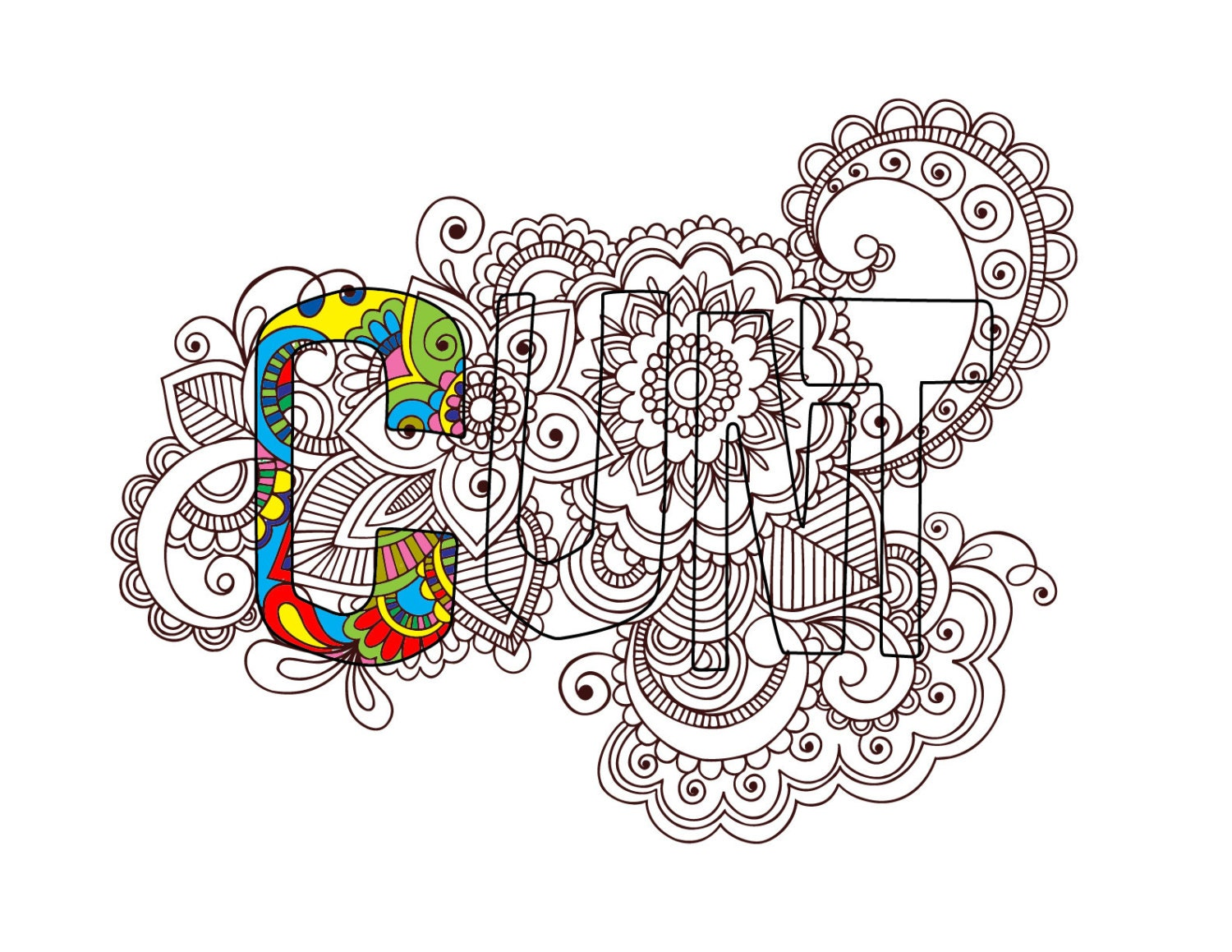 Coloring pages for adults curse words - Swear Coloring Page Cunt With Flower Ornaments Sweary Word Page Swearing Curse Page Adult Coloring Zentangle