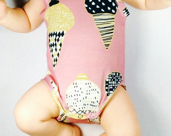 Baby ice cream bodysuit, organic baby bodysuit, baby girl onesie, organic baby clothing, baby tank top, Ready to ship in size 0 - 3 months