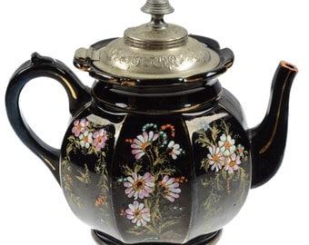 Antique Teapot Pewter Lid Alexandra Pottery Manning Bowman Burslem England Black