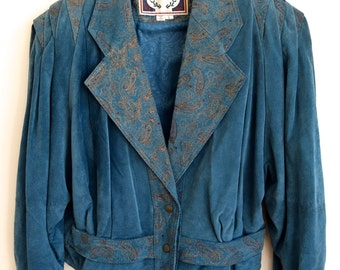 Vintage 1980's Blue Suede Leather Women's Jacket