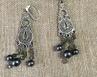 Swarovski crystals and pearls in grey