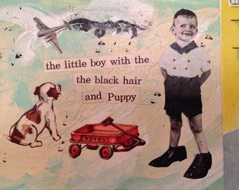 Art Mixed Media Painting Collage - Boy and Dog Together
