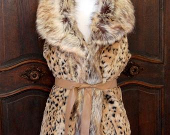 Leopard Print Faux Fur Vest with Belt