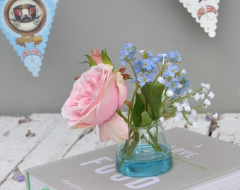 Silk  Rose Bouquet Artificial Flowers  bluebells and aqua vase