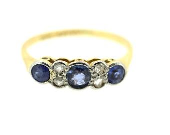 18ct Art Deco Sapphire and Diamond Ring