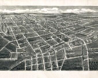 1907 Panoramic Map of Statesville North Carolina