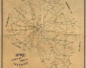 1891 Map of Fayette County Kentucky Lexington