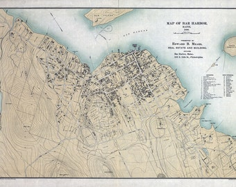 1896 Map of Bar Harbor Maine