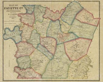 1865 Map of Fayette County Pa Uniontown Monongahela River Coal Smithfield