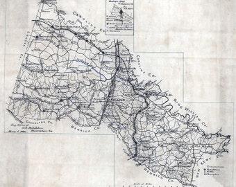 1886 Map of Hanover County Virginia