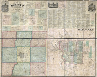 1866 Farm Line Map of Marion County Indiana Indianapolis