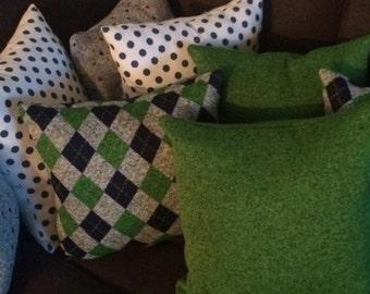 Green Blue and Gray Argyle Pillow