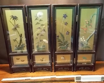 Vintage Japanese 4 Panel Sculptured Semi- Precious Stone In-Laid Table Top Divider