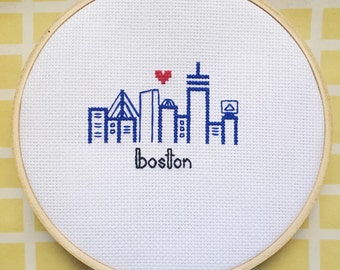 "Cross Stitch Boston Skyline- 6"" hoop"